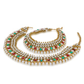 Craftsvilla  Gold Plated Beautiful Multicolor Alloy Anklets