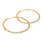 Craftsvilla  Gold Plated Multicolor Beads Studded Pair Of Anklets Ak-5050