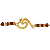 Mahi Red Colored Gold Om With Crystals And Beads Gold Plated Rakhi For Men Br1100546g