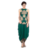 Indo Western Dhoti Pant & Jacket By Ravechi Fab (green)