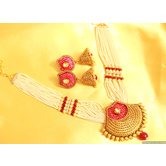 Ruby Red Polki Necklace Sets