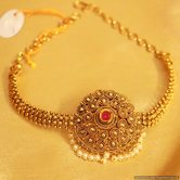 Gold Look Ruby  And  Pearl Antique Bajuband
