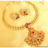 Gold Look Navratan Gerua Polish Necklace Set