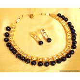 Black Onyx Single Line Kundan Necklace Set