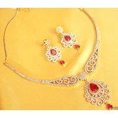Ruby Red American_diamonds Necklace Sets
