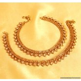 Antique Gold Look Square Polki Anklets