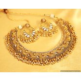Gold  And  Silver Look Polki Necklace Set