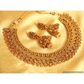 Gold Look Polki Antique Necklace Set