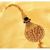 Antique Gold Look Polki Black Maang Tikka