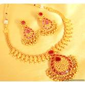 Ruby Gold Look Gerua Polish Necklace Set