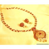 Ruby Gold Look Pearl Pendant Set