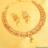 Gold Look Polki Elegant Necklace Set