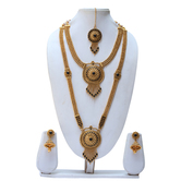 Craftsvilla  Charming Black Colour Harem Necklace Set With Jhumka Earring