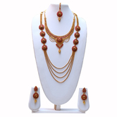 Craftsvilla Beautiful Maroon Colour Mala Kundan Necklace With Earring Set