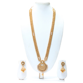 Craftsvilla Pleasing White Colour Long Necklace Set With Earrings