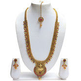 Craftsvilla Fantastic Maroon Laxmi Haram Necklace Set Earring With Maang Tikka