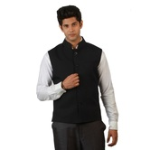 Amora Designer Ethnic Navy Blue Solid Blended Fabric Koti (waist Coat) For Men