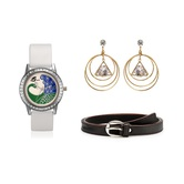 Arum Latest Combo Of White Peacock Watch With Fashion Earrings  And Brown Belt