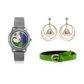 Arum Latest Combo Of Silver Peacock Watch With Fashion Earrings  And Green Belt