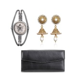 Anjc-019Arum Combo Of Butterfly Watch With Black Wallet And Stylish Golden  Jhumki