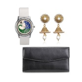Anjc-020Arum Combo Of White Peacock Watch With Black Wallet And Stylish Golden  Jhumki