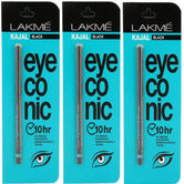 Lakme Eyeconic Kajal, Deep Black, 0.35g Pack Of 3