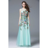 Online Hub New Sky Blue Embroidered Net  Gown Western Dress