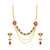 Sukkhi Traditionally 3 String Gold Plated Long Haram Necklace Set For Women