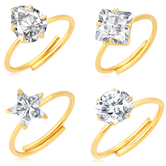 Craftsvilla Dazzling Gold Plated Solitaire Set Of 4 Ladies Ring Combo For Women