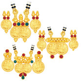 Sukkhi Brilliant Laxmi Temple Coin Gold Plated Set Of 3 Mangalsutra Set Combo For Women
