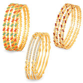 Sukkhi Glamorous Gold Plated Ad Set Of 3 Pair Bangle Combo For Women