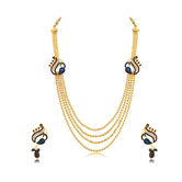 Craftsvilla Attractive Peacock 4 String Gold Plated Long Haram Necklace Set For Women