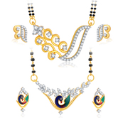 Sukkhi Traditionally Peacock Gold Plated Cz Set Of 2 Mangalsutra Set Combo For Women
