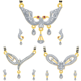 Sukkhi Sparkling Gold Plated Cz Set Of 3 Mangalsutra Set Combo For Women