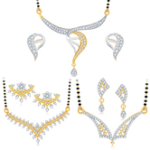 Sukkhi Classy Gold Plated Cz Set Of 3 Mangalsutra Set Combo For Women