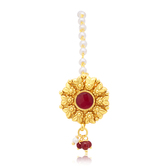 Sukkhi Delightful Gold Plated Maroon Studded Stone Borla For Women
