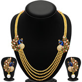Craftsvilla Gleaming Peacock Four Strings Gold Plated Necklace Set