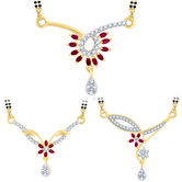 Sukkhi Incredible Gold Plated Cz Set Of 3 Mangalsutra Combo For Women