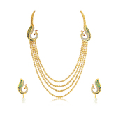 Sukkhi Magnificent Peacock 4 String Gold Plated Long Haram Necklace Set For Women