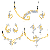 Sukkhi Graceful Gold Plated Cz Set Of 3 Mangalsutra Set Combo For Women