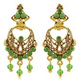 Sukkhi Wavy Gold Plated Green Studded Chandbali Stone Earring For Women