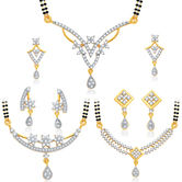 Craftsvilla Intricately Crafted Gold Plated Cz Set Of 3 Mangalsutra Set Combo For Women