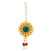 Sukkhi Artistically Gold Plated Green Studded Stone Borla For Women