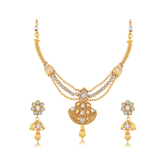 Sukkhi Marquise 3 String Gold Plated Choker Necklace Set For Women