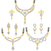 Sukkhi Attractive Gold Plated Cz Set Of 3 Mangalsutra Set Combo For Women