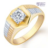 Sukkhi Gold And Rhodium Plated Solitaire Cz Ring For Men(124grk650) - Othermen\'sfashion By Sukkhifashion