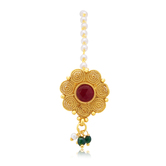 Sukkhi Fascinating Jalebi Gold Plated Maroon Studded Stone Borla For Women