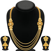 Craftsvilla Stylish Jalebi 4 String Gold Plated Necklace Set For Women