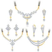 Sukkhi Pleasing Gold Plated Cz Set Of 3 Mangalsutra Set Combo For Women