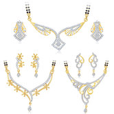 Sukkhi Glimmery Gold Plated Cz Set Of 3 Mangalsutra Set Combo For Women